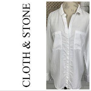 Cloth & stone white button down shirt size L